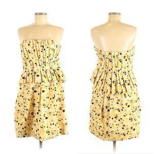 VERA WANG LAVENDER Peplum Strapless Yellow Dress